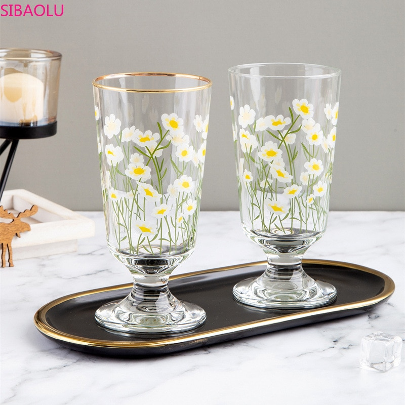 Phnom Penh Daisy Goblet Flower Tulip Glass Ins Net Red Short Red Wine Cup Glass Cups   Water Glass Cup  Wine Glasses Beer Glass
