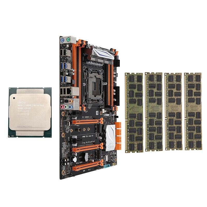 X99 LGA2011-V3 материнская плата комбинированный набор с процессором E5 2678V3 4X16GB 64GB DDR3 ram 4-Ch 1866Mhz REG ECC NGFF M.2 SSD слот