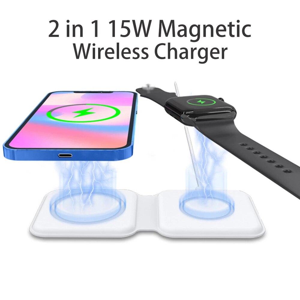 2 em 1 magnético para iphone magsafe carregador sem fio 15w carregador rápido qi de carregamento para iphone iwatch airpods 12 pro max 12 mini