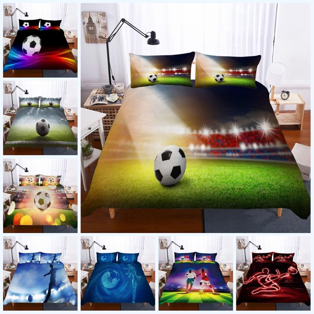 طقم سرير كرة القدم غطاء لحاف رياضي 3 قطعة بنين المراهقين غطاء المعزي مع 2 كيس وسادة