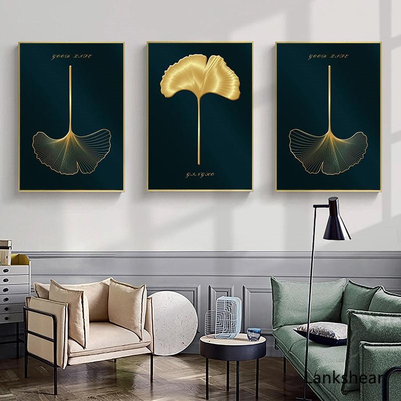 Hoja de planta dorada pintura abstracta lienzo nórdico póster impresión botánica pared imágenes decorativas Decoración Para sala de estar moderna