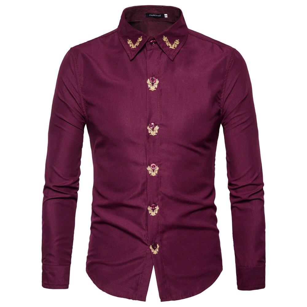 Бренд-одежда 2020 весенние модные рубашки мужские хлопковые тонкие рубашки с отложным воротником мужские рубашки с длинным рукавом с вышивко...