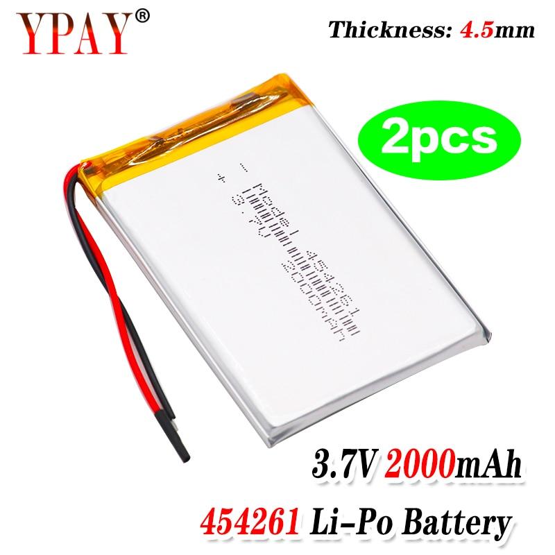 2 uds batería de polímero de 3 líneas 3,7 V batería de polímero de litio 454261 2000mAh máquina de juego MP3 MP4 MP5 batería de litio GPS