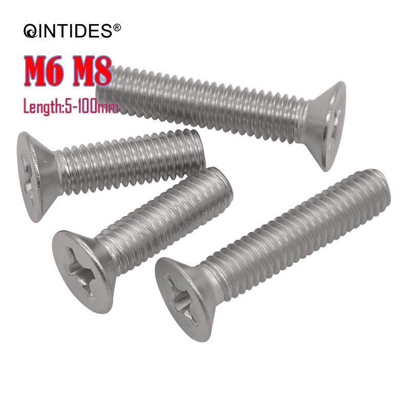 QINTIDES M6 M8 longueur de vis 8-120mm vis à tête fraisée à empreinte cruciforme 304/316 vis à métaux à vis plate en acier inoxydable