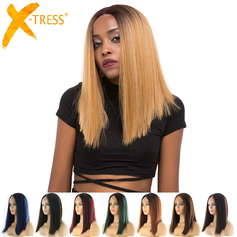 Pelucas de pelo sintético frontal de encaje Bob corto Color negro Rubio rojo X-TRESS Yaki parte recta media Peluca de encaje Roma para mujer