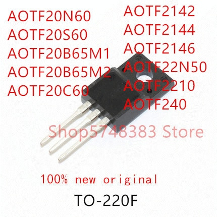 10pcs-aotf20n60-aotf20s60-aotf20b65m1-aotf20b65m2-aotf20c60-aotf2142-aotf2144-aotf2146-aotf22n50-aotf2210-aotf240-to-220f