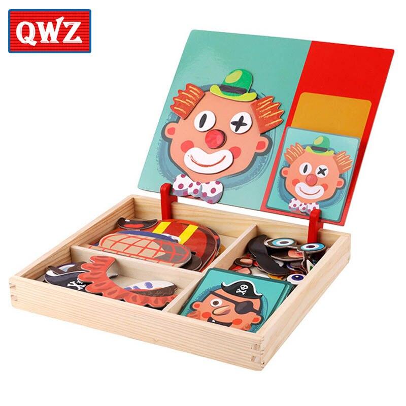 De Madera Juguetes educativos para niños magnético rompecabezas juego de caballete pizarra divertido pegatinas reutilizables para niños regalos