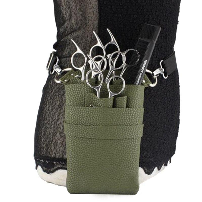 Étui en cuir PU avec ceinture réglable pour ranger les outils de coiffure ciseaux Clips étui peignes haute Capa