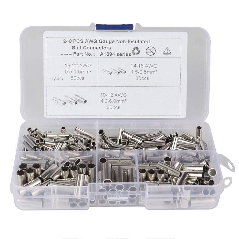 240 Uds 22-18 16-14 12-10 AWG calibre no aislado conectores a tope sin aislamiento Cable casquillo Terminal de engarce del Cable Kit para DIY