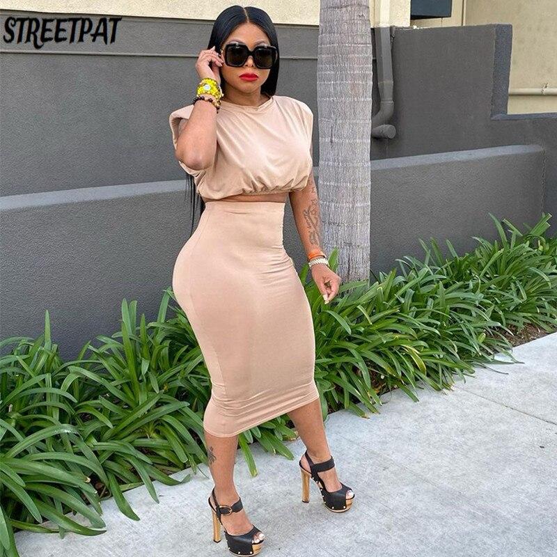 Пикантные Миди-юбки 2 из двух частей комплект Для женщин Bodycon Танк короткий топ и юбка, комплекты летней одежды в уличном стиле цельное плать...