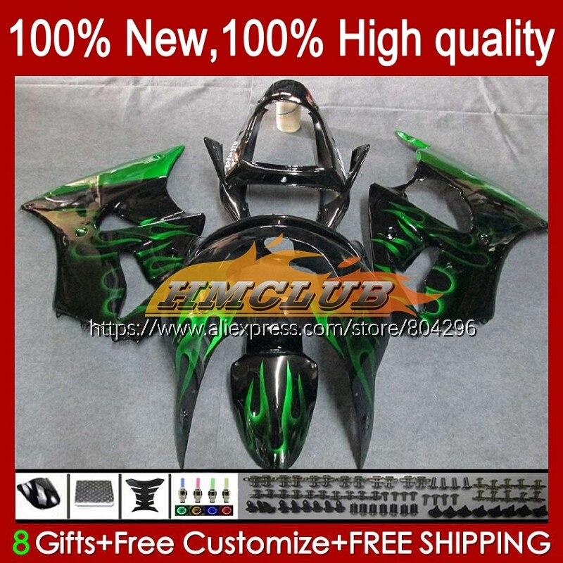 الجسم لكاواساكي ZX-6R 6 R ZX-636 ZX600 600CC الأخضر اللهب 98 99 104No.5 ZX600CC ZX 636 6R ZX6R 98 99 ZX636 1998 1999 هدية