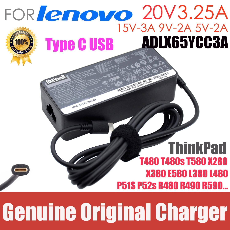 الأصلي 65W 20V 3.25A نوع C AC محول شاحن لابتوب لينوفو ثينك باد T480 T480s T580 X280 X380 E580 L380 L480 15V-3A