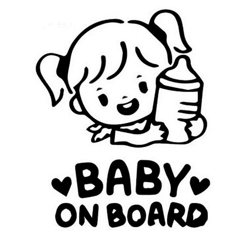 Dawasaru bebé de coche de dibujos animados Etiqueta de chica sostener una botella adhesivo para camión motocicleta Auto accesorios PVC 16cm * 12cm