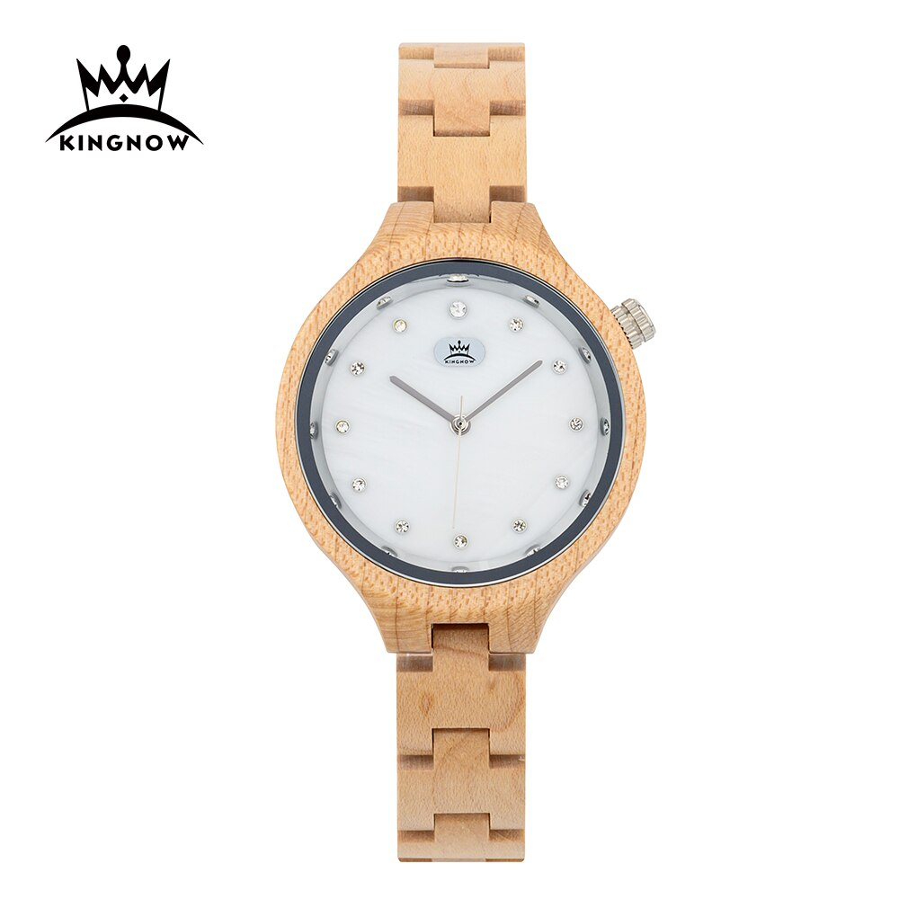 KINGNOW Women's Watches Quartz Wrist Watch For Ladies Luxury Wristwatch Elegant Woman Watch Female Timepieces Wooden Box Gift