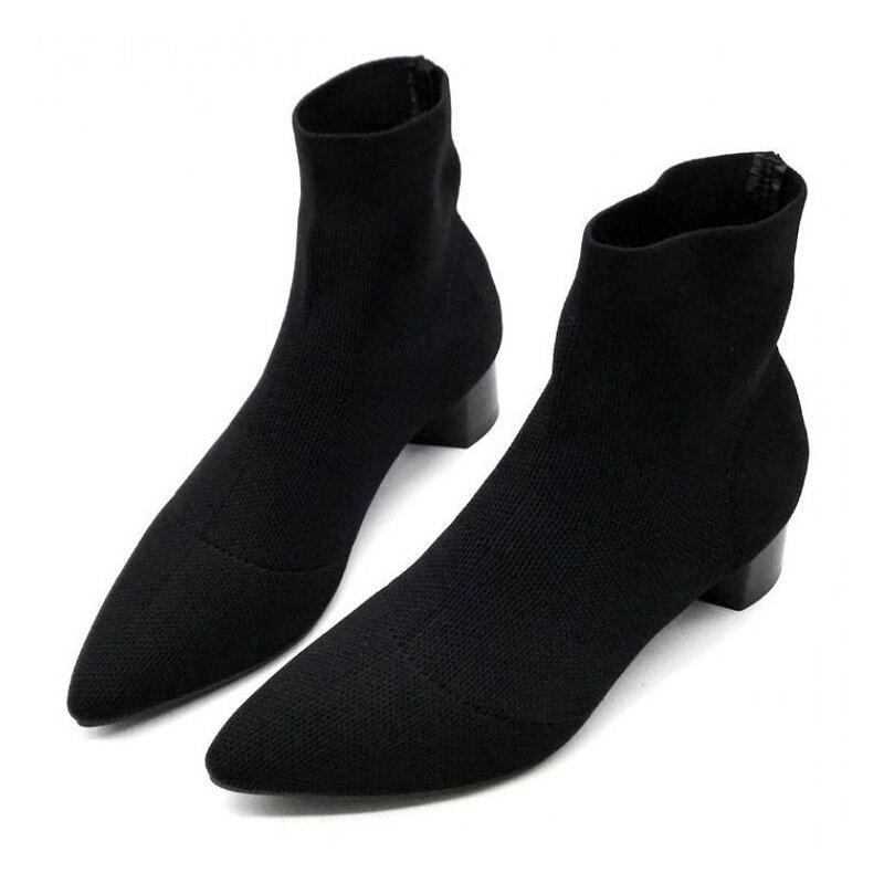 Bottes femme bout pointu fil élastique bottines épais Med talons chaussures femme femme chaussettes bottes 2020 automne
