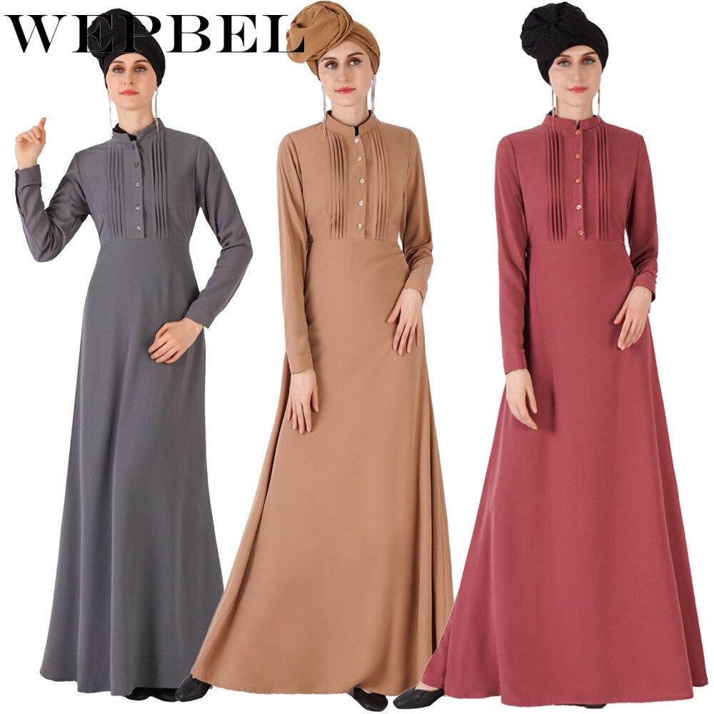 WEPBEL Muslim Dress for Women  Slim Fit Long Sleeve Abaya Fashion Arab Dubai Robe Ramadan Islamic Clothing