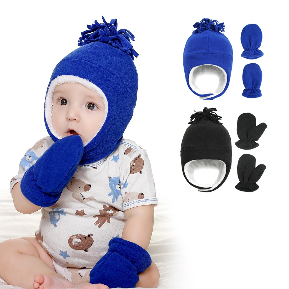 New Baby Kids Girls Boys Winter Warm Bomber Hat  Solid Warm Cute Glove 2pcs Lovely Beanie Cap 6M-6Yr
