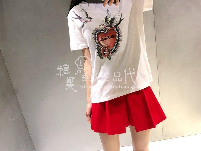 19 Verano de Sport Lady tragar Rosa Corazón de melocotón de impresión de manga corta T camisa 95040