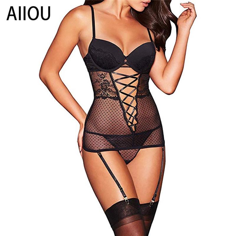 AIIOU Mulheres Rendas Conjuntos de Lingerie Exótico G-corda Thong Underwear Polka Dot Malha Roupa Amante Sexo Pornô Trajes Das Senhoras Conjunto