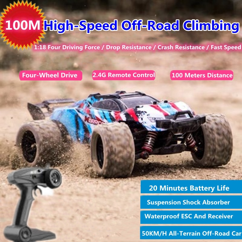 1:18 Full Scale High-Speed All-Terrain Off-Road RC Car 100M 20Mins Suspension Shock Absorber Waterproof ESC/Receiver 4WD RC Car