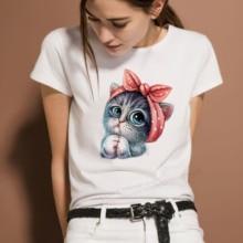 Harajuku 100% Cotton T Shirt Women Summer O Neck Female Tops Kanpa 2021 Fashion White T-shirt Cat pr