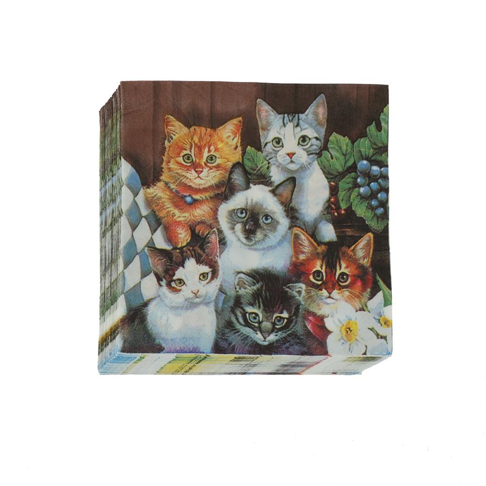 20 шт./компл. 33x33 см бумажная салфетка для кошек и домашних животных для девочек, одноразовая Праздничная посуда, праздничные принадлежности ...