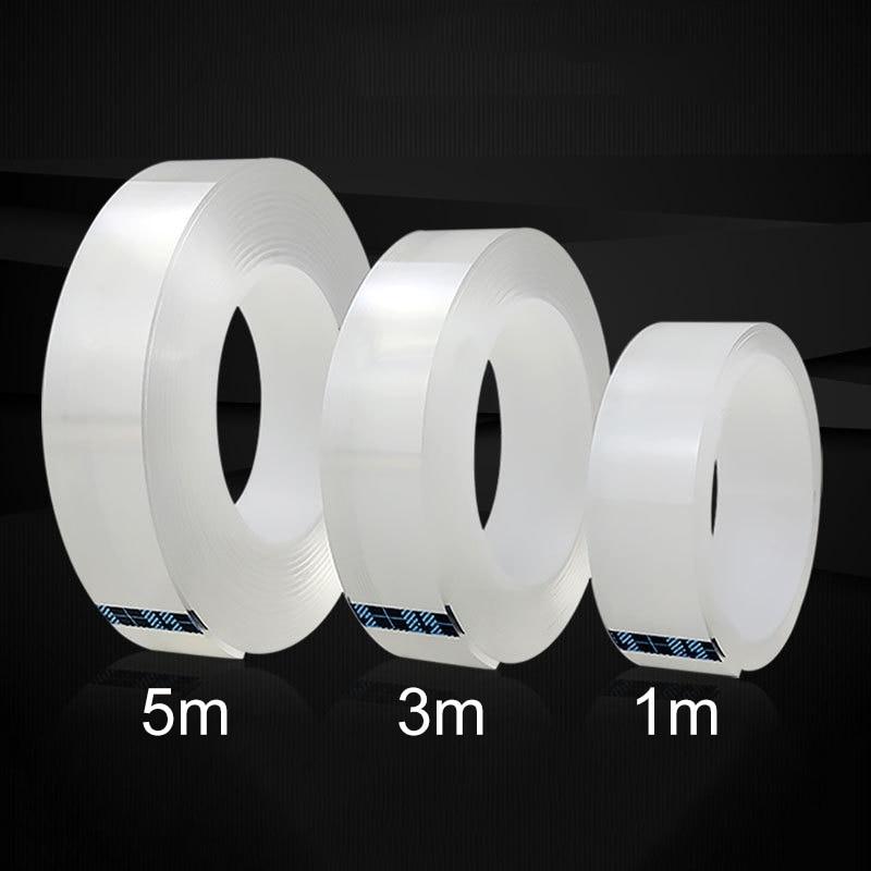 1/3/5M Nano Magic Tape reutilizable impermeable fuerte autoadhesiva cinta de doble cara transparente sin rastro limpiable para el hogar