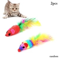 2pcs cat mouse toy colorful plastic creative cat feather toy kitten bite toy random color for training chew toy cat accessories