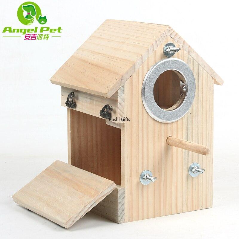 Jaula de pájaro de madera, jaula de pájaro, caja de cría de Budgerigar, Nido de Pájaro Vertical de madera, accesorios para jaulas de pájaros, casa de pájaros, madera