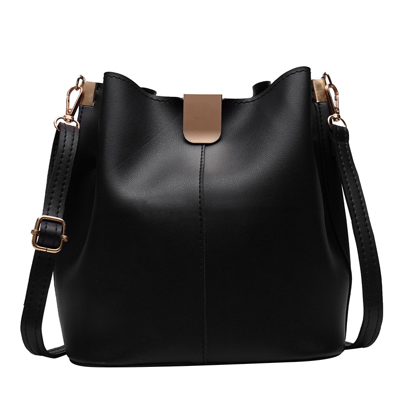 Bucket Bag Large Capacity Lady Shoulder Bag Contrast Color Leather Casual Simple Wholesale New 2021