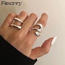 Foxanry-Anillos minimalistas de Plata de Ley 925 para mujer, moda creativa hueca Irregular geométrica, joyería para fiesta de cumpleaños, regalos
