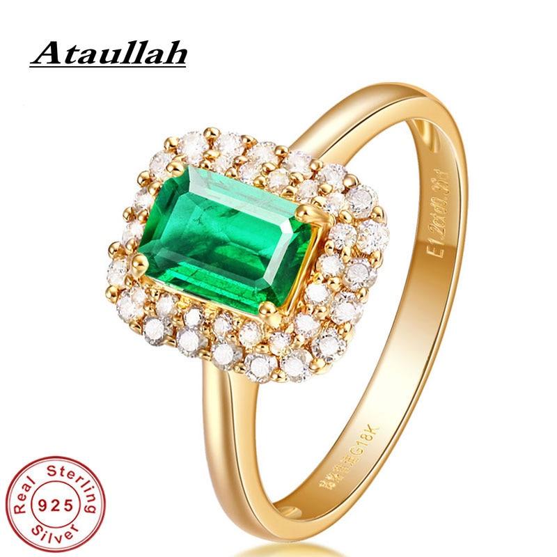 Ataullah Esmeralda natural gema anillos plata de ley 925 18k chapado en oro anillo de boda joyería fina para mujer regalo RW115