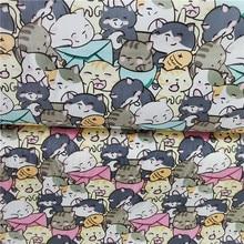 Mignon chat 100% coton sergé tissu imprimé bébé literie tissu pour bricolage sac pyjama tissu