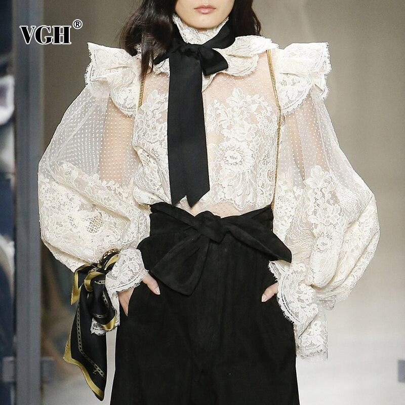 Vgh rendas retalhos camisas femininas gola bowknot rendas até lanterna manga perspectiva sexy blusa feminina 2020 roupas de moda
