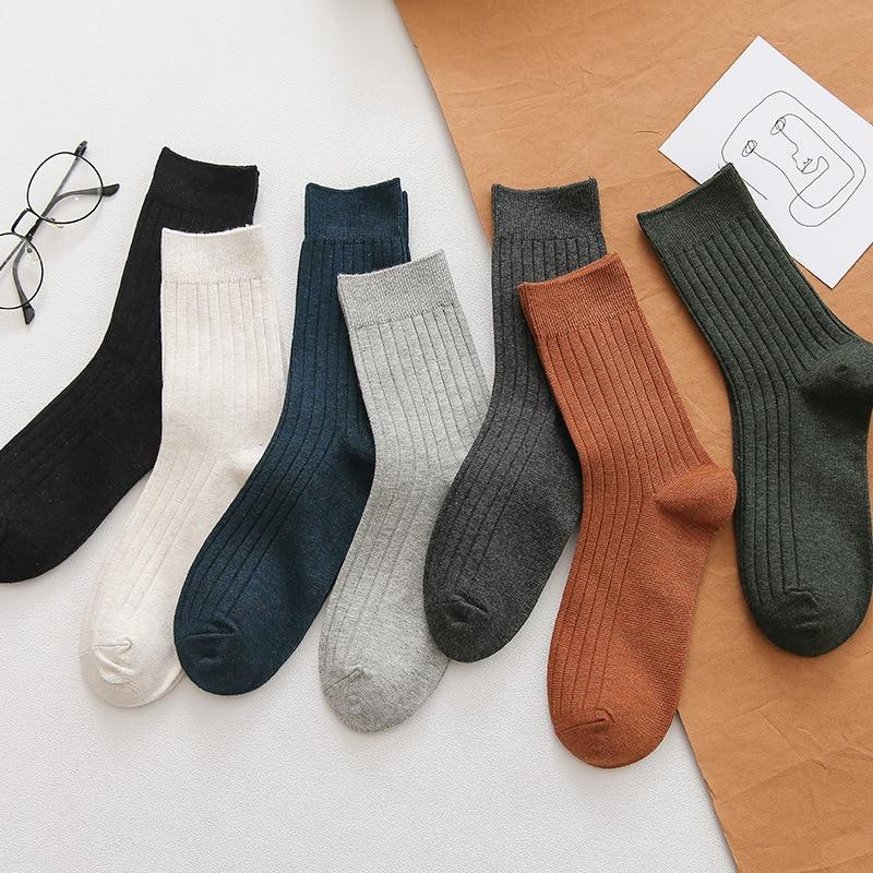 Anewmorn осень зима новые повседневные хлопковые мужские носки двухцилиндровые одноцветные носки уличные стильные и красивые Sokken