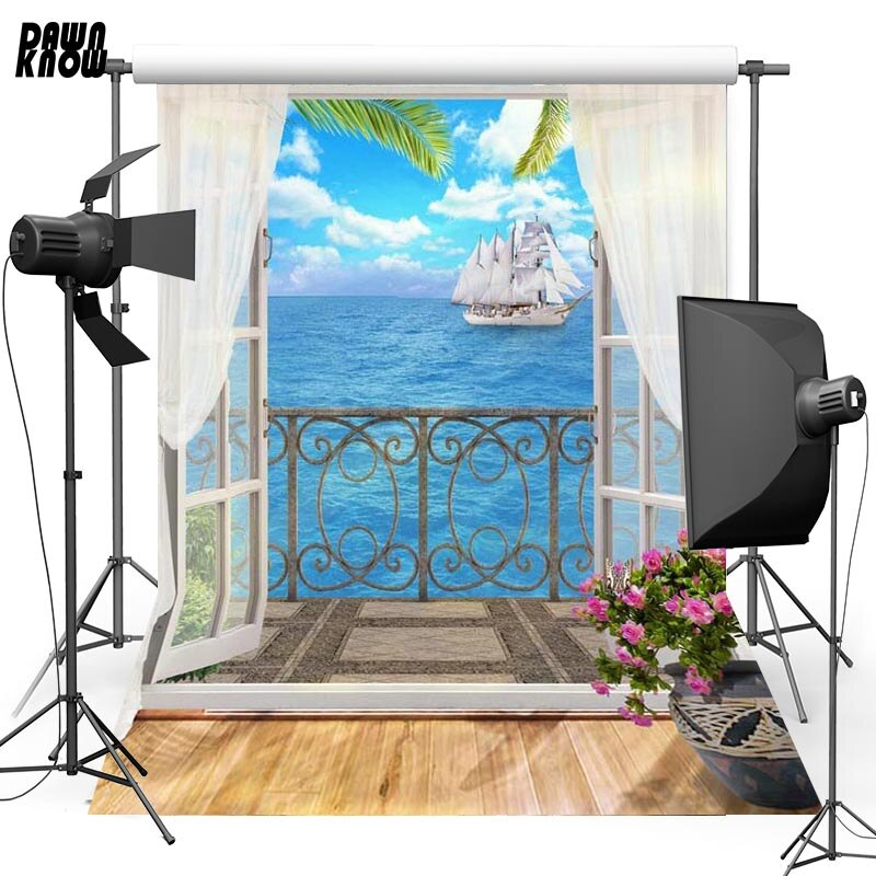 DAWNKNOW Seawater Vinyl Photography Background For Window Sailing New Fabric Polyester Backdrop For Family Photo Studio G617