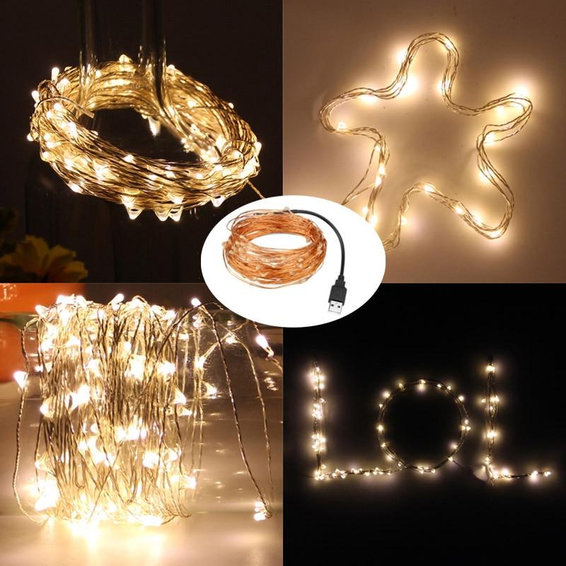 String lights 5V USB Powered 10M 5M garland Christmas Lights Luminaria Outdoor Festival Wedding Party Decoration