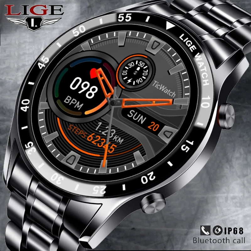 LIGE 2021 New Men Smart Watch Bluetooth Call Watch Waterproof Sports Fitness Smartwatch For Android