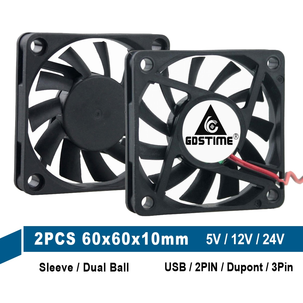 2PCS Gdstime 5V 12V 24V 6010 60mm 6cm DC Cooling Fans 60x60x10mm 2Pin 3Pin USB Dupont Computer PC CPU Case Cooling Cooler Fan 5pcs lot gdstime 6015 2pin 60mm 60 60x15mm 12v dc computer cpu cooling fan 6cm cooler