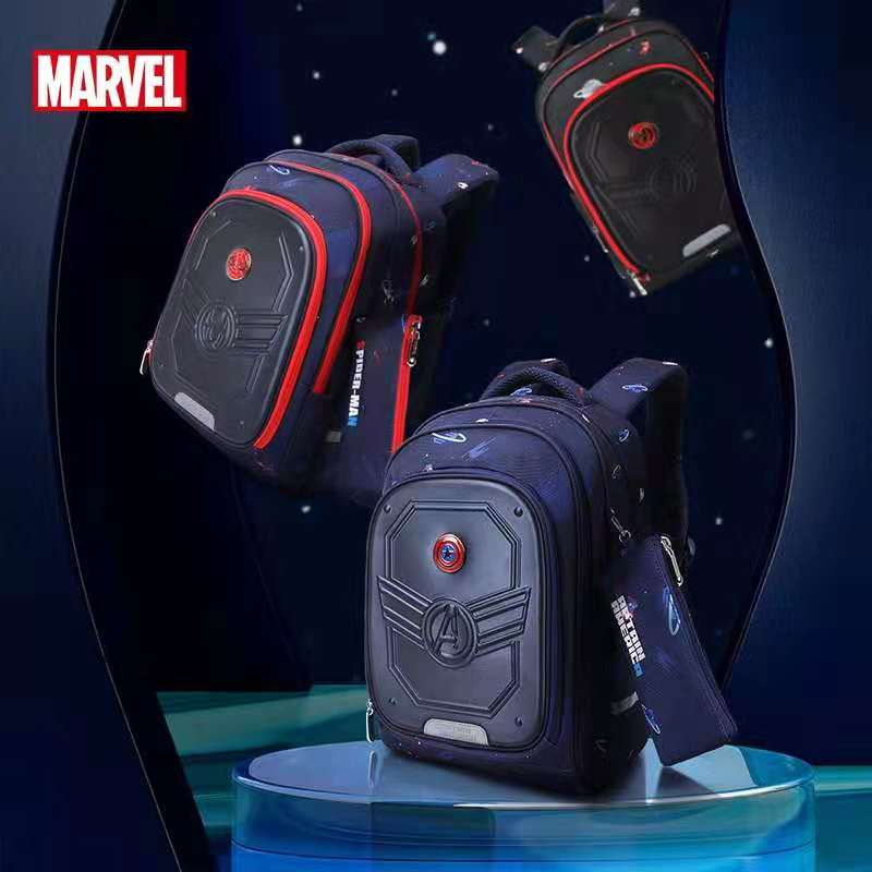 Disney Marvel School Bags For Boys Primary Student Shoulder Orthopedic Backpack Grade 1-5 Spider Man Captain America Mochilas