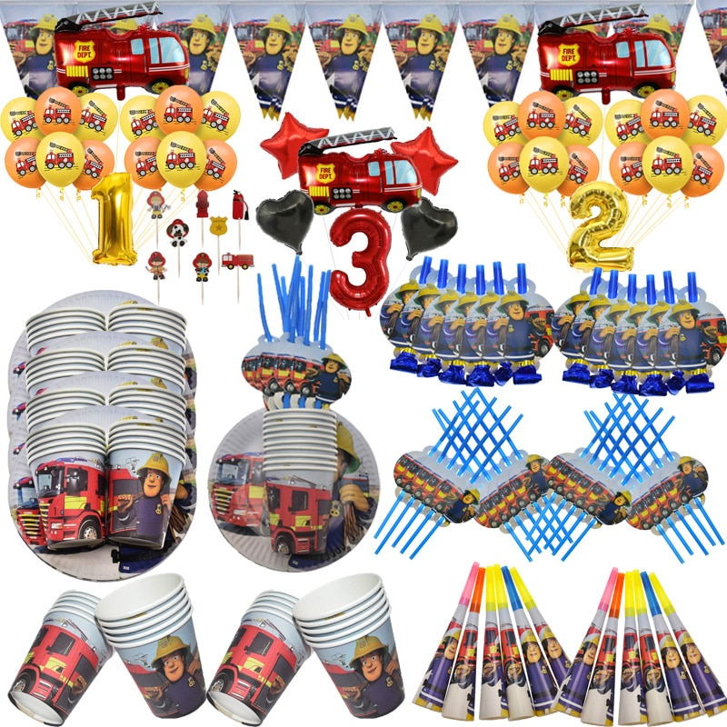 Fireman Sam Disposable Tableware Baby Shower Kids Party Supplies Paper Plates Cups Fire Truck Number Balloon Birthday Party Boys