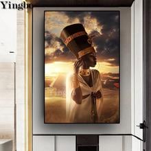 5d femmes africaines diy   Peinture diamant, pyramide, photo, strass, broderie diamant, point de croix, décor en egypte, cadeau de décor