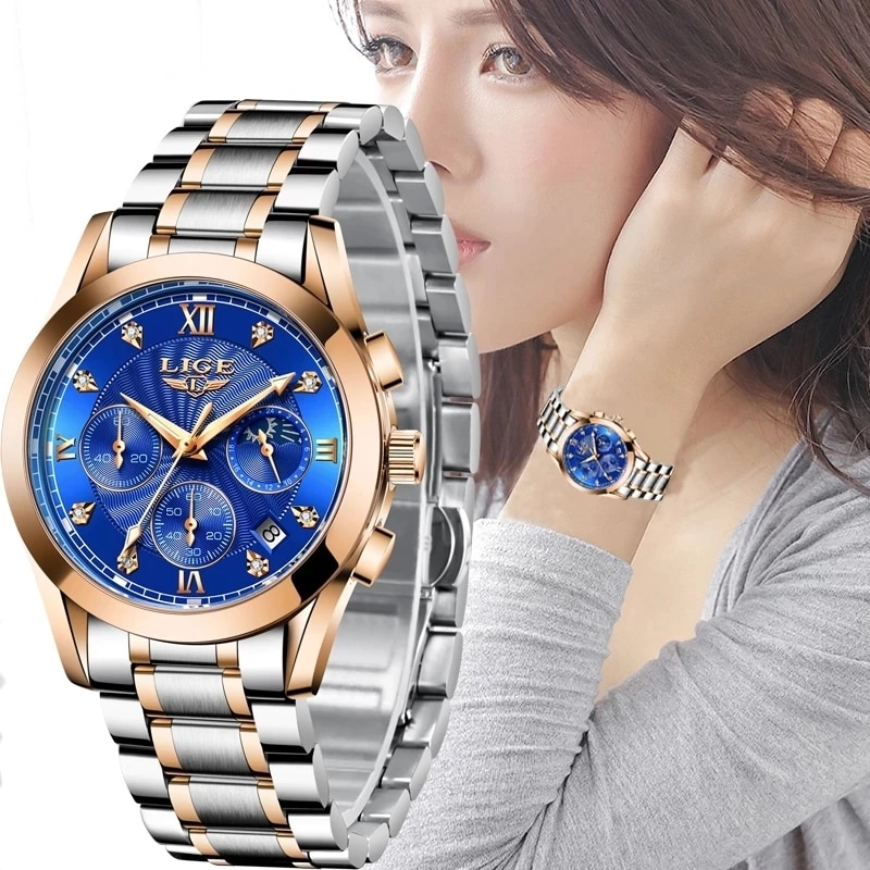 LIGE 2021 New Women Watches  Gold Watch Ladies Creative Steel Womens Bracelet Watches Female Waterproof Clock Relogio Feminino enlarge