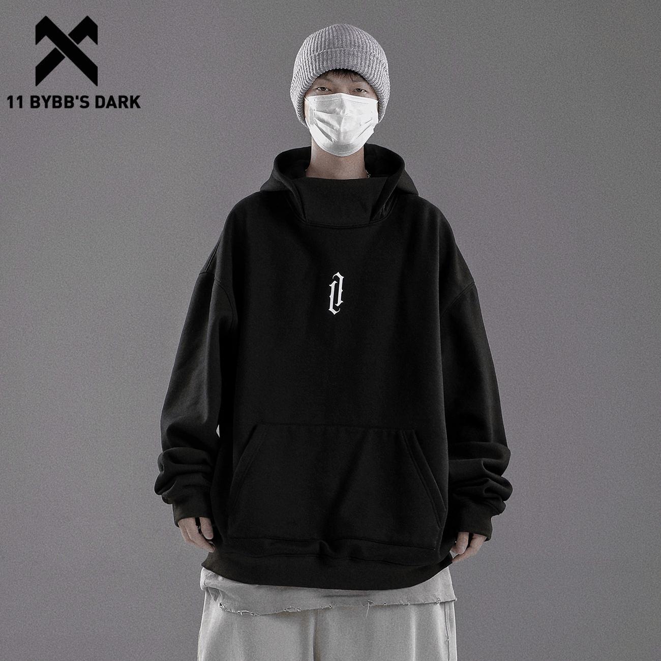 11 BYBB'S الظلام الصلبة هوديي بلوزات النينجا عالية الياقة كنزة صوف القطن Techwear Harajuku الرجال هوديي الهيب هوب الشارع الشهير