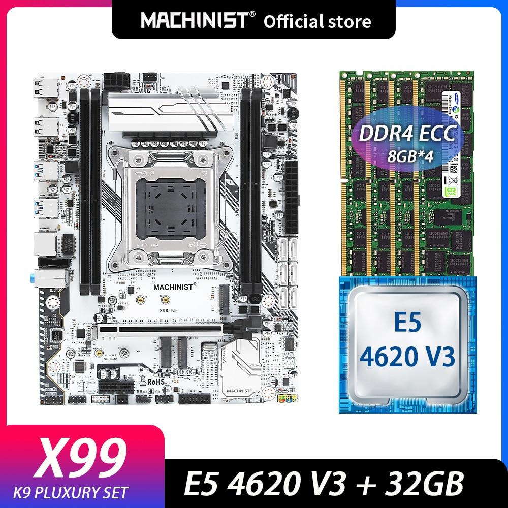 ماشينيست x99 اللوحة مجموعة عدة مع إنتل سيون E5 4620 V3 المعالج 4 قطعة * 8 = 32 جيجابايت 2133 ميجا هرتز DDR4 ECC ذاكرة عشوائية LGA 2011-3 X99-K9
