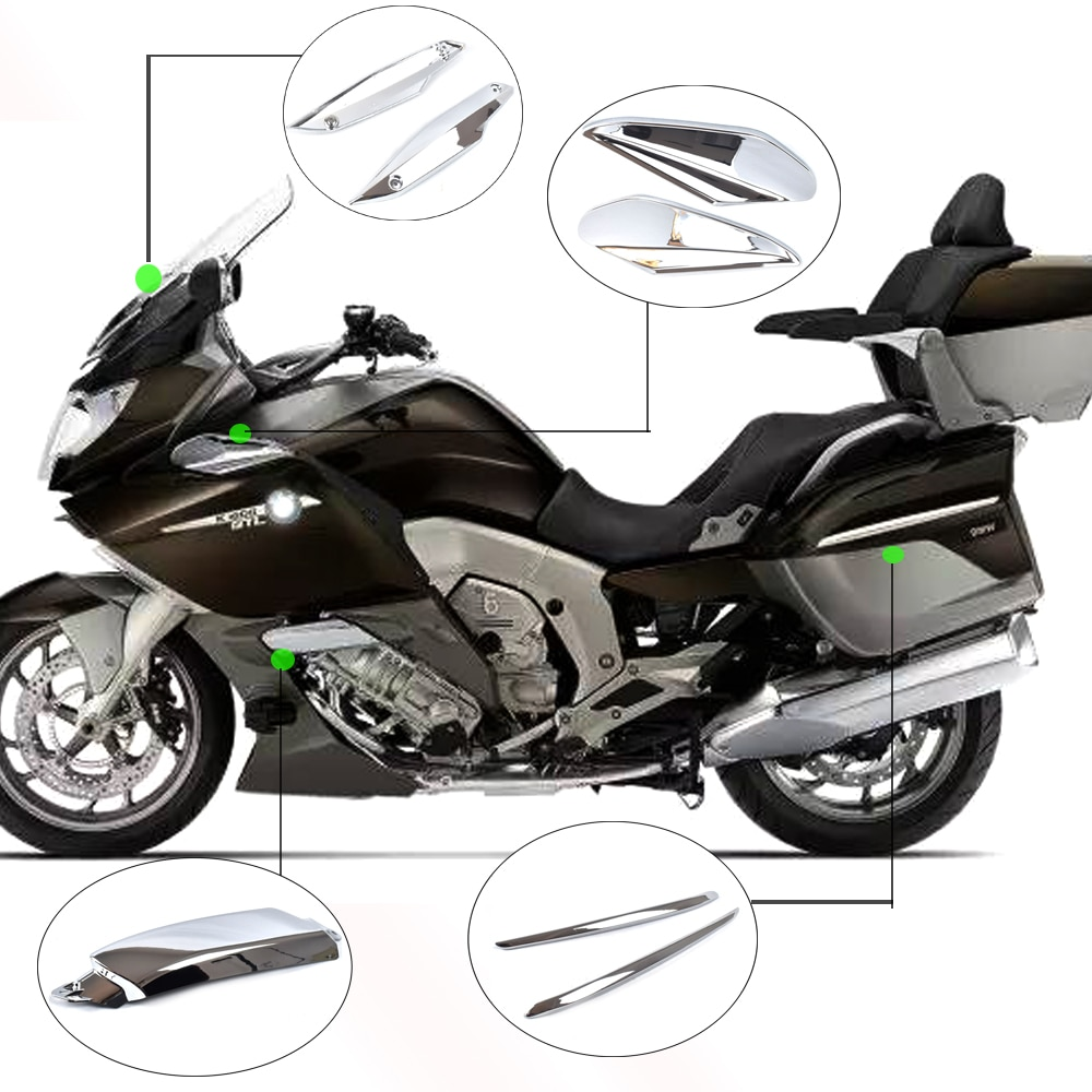 Deflector Cover Saddlebag Latch Trim Cover Chrome Engine Cooling Pipe Protective Shell For BMW K1600GTL 1600 GTL 2011-2018