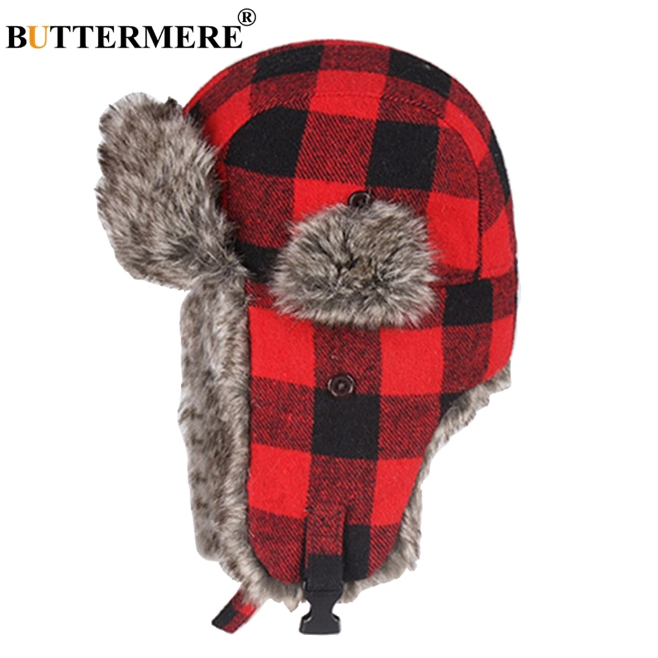 Chapéus de inverno para homens chapéu de bomber de pele vermelho quente earflap boné à prova de vento feminino mais grosso xadrez russo ushanka hat preto azul