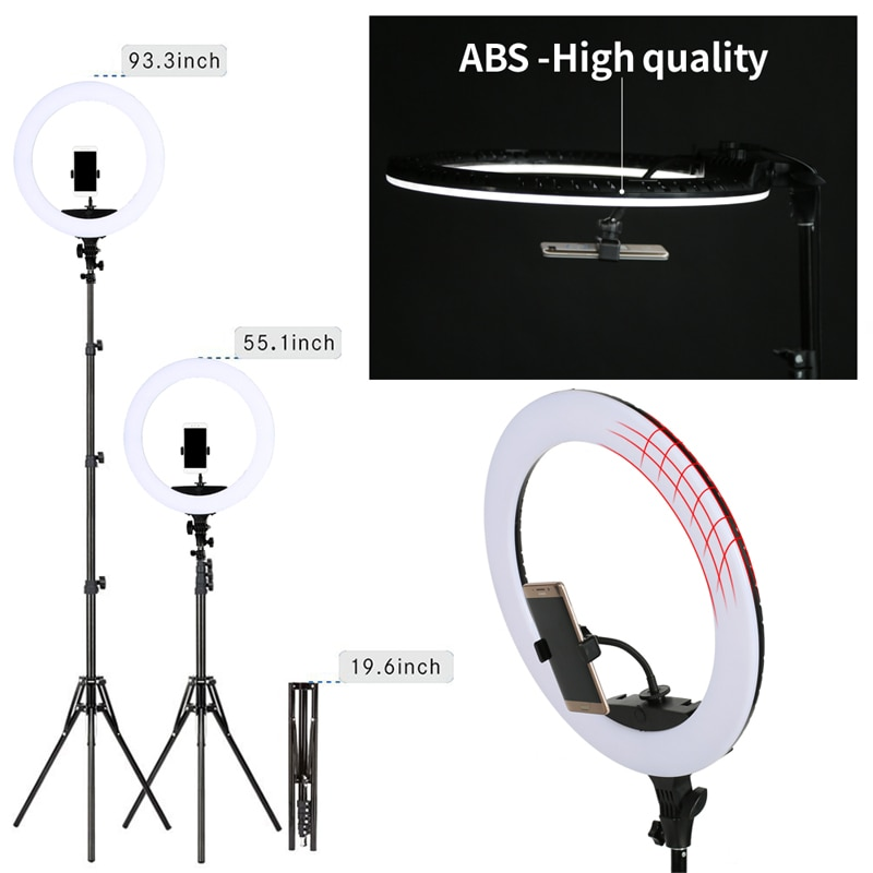 WalkingWay 18 inch Selfie Ring Lamp Photography Lighting LED Ring Light with Tripod Stand Bracket for Photo Studio/Youtube/Video enlarge