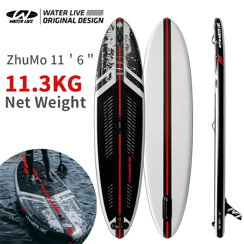 """WATERLIVE ZHUMO Aquatic Professional Surfboard 2 Persons Adult Standing SUP Double Surface Inflatable Board 11'6"""" Widen Board"""