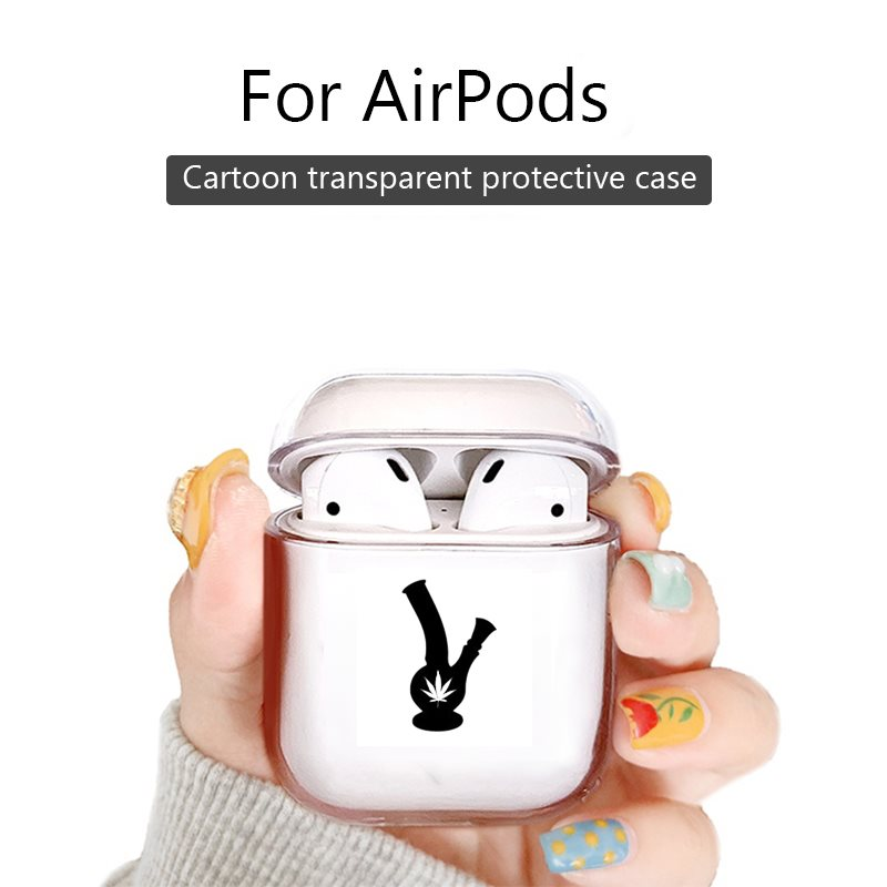 Para los airpods de Apple pro de dibujos animados inalámbrico auriculares Bluetooth con carcasa para los Airpods 1/ 2 de Cannabis marihuana